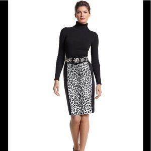 White House Black Market Skirts - WHBM Leopard with Black Stripe Pencil Skirt